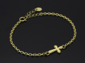 Smooth Cross Chain Bracelet - K18Yellow Gold