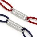 ID Plate Cord Bracelet&Anklet - Silver w/CZ