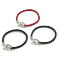 Horseshoe Leather T-Bar Bracelet - Silver