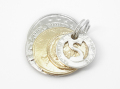 Coin Set Charm Silver Brass - Shiny