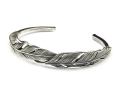 Double Feather Bangle - Silver