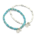 Lono×SYMPATHY OF SOUL Collaboration Stretch Beads Bracelet w/Plumeria Charm