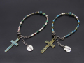Beads Bracelet with Skull & Cross