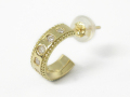 Mill Grain Hoop Pierce K18Yellow Gold w/Diamond