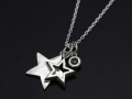 Stars & Black Diamond Necklace 2015 Christmas Model - Silver