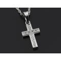 Small Gravity Cross Necklace - Silver w/CZ