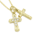 Double Cross Necklace - K18Yellow Gold