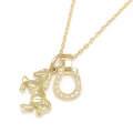 Small Horse & Horseshoe Necklace - K18Yellow Gold w/Diamond