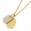 2018 Christmas Model Small Dog Tag Necklace - K18Yellow Gold w/Diamond