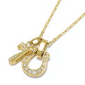 Horseshoe Amulet +  Number Charm - K18Yellow Gold w/Diamond Set Necklace