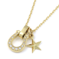 Horseshoe Amulet + Small Star Charm - K18Yellow Gold w/Diamond Set Necklace