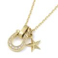 Horseshoe Amulet + Small Star Charm - K18Yellow Gold w/Diamond Set Necklace