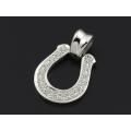 Horseshoe Large Pendant - Silver w/CZ