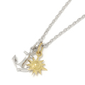Anchor Pendant - Silver + Small Sun Charm - K18Yellow Gold Set Necklace