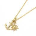 Anchor Pendant + Small Sun Charm - K18Yellow Gold w/Diamond Set Necklace