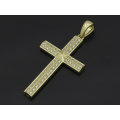 Ridge Cross Pendant Large - K18Yellow Gold w/Diamond