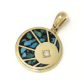 Eclipse Inlay Pendant - K18Yellow Gold w/Turquoise&Diamond
