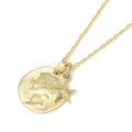 Liberty Head Pendant + Small Star Charm - K18Yellow Gold Set Necklace