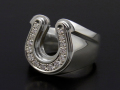 Combination Horseshoe Ring - Silver w/CZ
