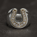 Combination Horseshoe Ring - Silver×K10Yellow Gold w/Diamond