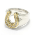 Combination Horseshoe Ring - Silver&K18Yellow Gold