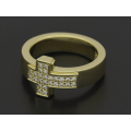 Dazzle Cross Ring w/Diamond - K18Yellow Gold