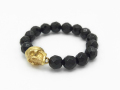 XS.F2-Skull with Beads Ring Onyx - Gold