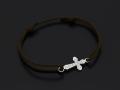 Smooth Cross Medium Cord Bracelet - Silver w/CZ