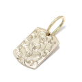 10K YG Lotus Carved Dog Tag