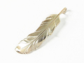 Old Feather Pendant Large - K10 Yellow Gold