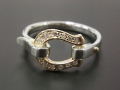 Horseshoe Band Ring - K10Yellow Gold w/Diamond