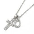 S.O.S fp恵比寿本店、インターネットストア限定 Small Gravity Cross Necklace w/Horseshoe - Silver w/CZ