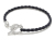 Horseshoe Leather T-Bar Bracelet - Silver w/CZ