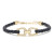 Horseshoe Leather Bracelet K18Yellow Gold w/Diamond