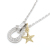 Horseshoe Amulet - Silver w/CZ + Small Star Charm - K18Yellow  Gold Set Necklace