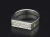Signet Ring - Rectangle - Silver w/Diamond