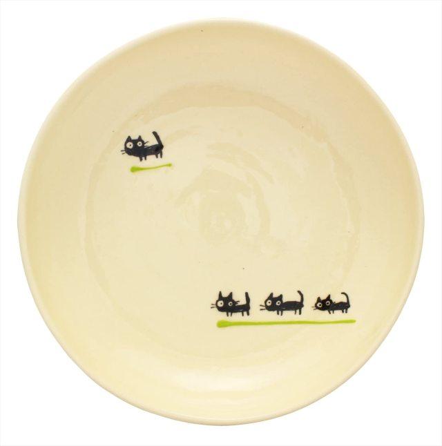 パスタ皿(黒ねこキミドリ)