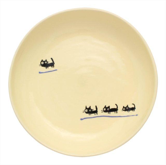 パスタ皿(黒ねこムラサキ)
