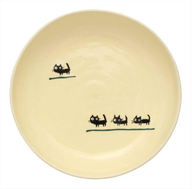 パスタ皿(黒ねこグリーン)