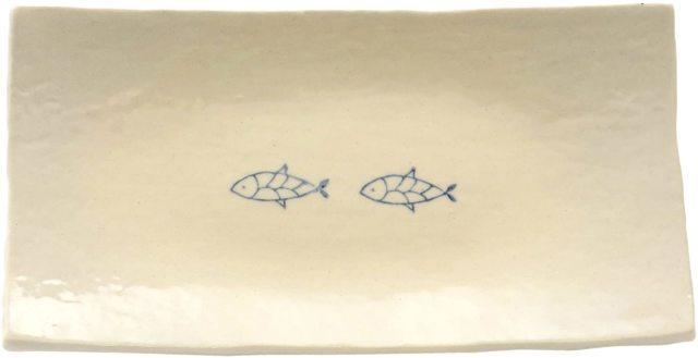 長角皿中(おさかな2つ並び)