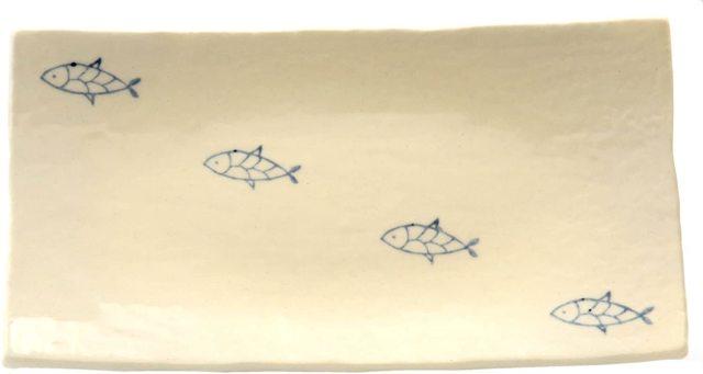 長角皿中(おさかな4つ斜め)