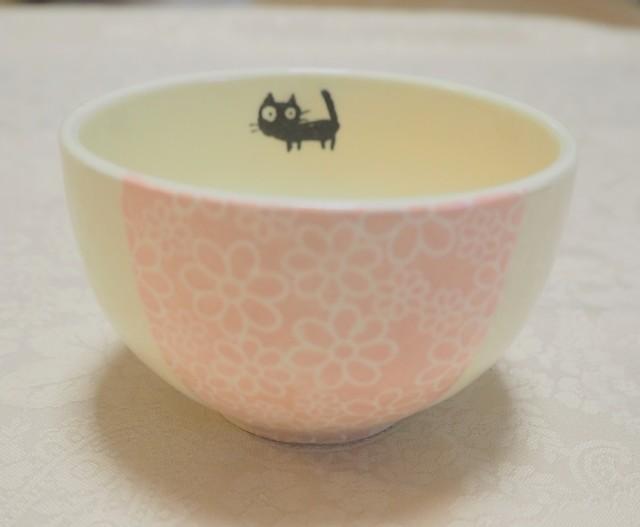ちゃわん/小鉢(小花ピンク 黒ねこ)