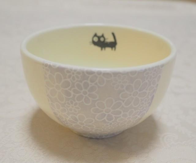 ちゃわん/小鉢(小花紫 黒ねこ)