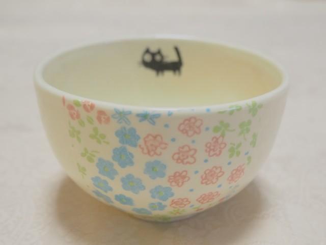 ちゃわん/小鉢(小花カラフル黒ねこ)