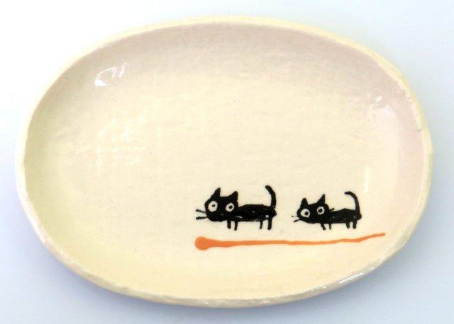 小判皿小(黒ねこオレンジ)
