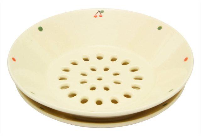 水切皿(さくらんぼドット)