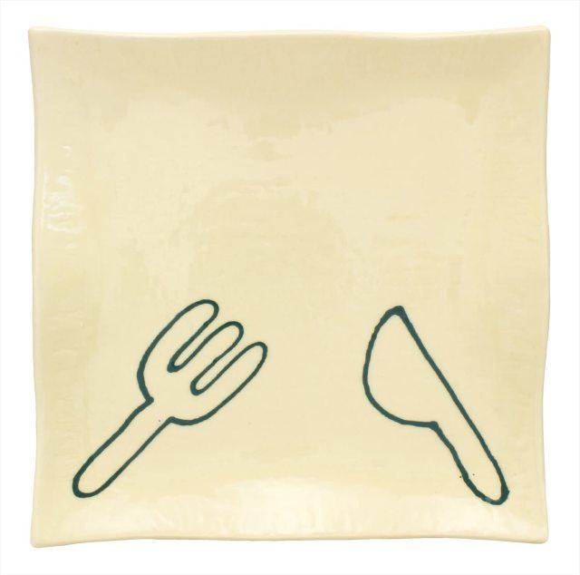波角皿(フォークナイフ緑)