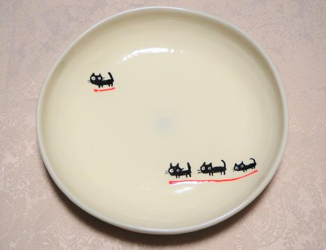 パスタ皿(黒ねこ赤色)