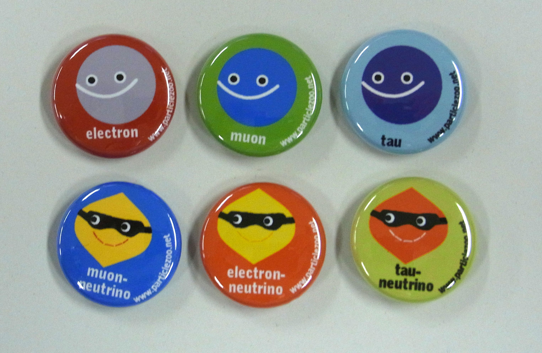 【素粒子物理グッズ】ParticleZoo LEPTONS 缶バッチセット