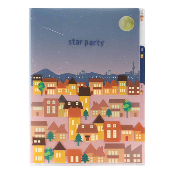 【Star Party Goods】3Pクリアフォルダ A5(宵の町並柄)